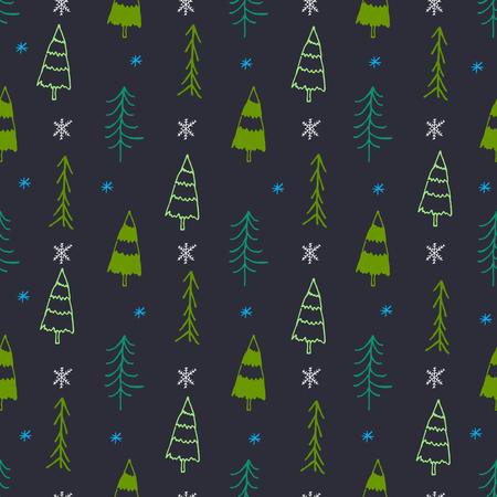 크리스마스 트리와 원활한 패턴입니다. 행복 메리 크리스마스의 개념입니다. 낙서 요소입니다.