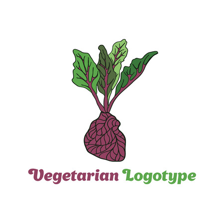 simple logo: Beetroot heart vegetable logo icon template design. Purple beet icon logo. Fresh vegetarian concept. Health vegetarian logo isolated on pattern background. Cool simple flat design beetroot symbo