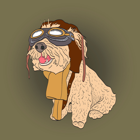 Dog portrait in a Steampunk helmet. Vector illustration.