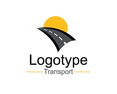 Logo Transport Template Design Vector illustration. Road illustration. Curved highway with markings.