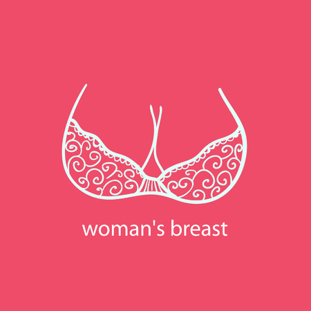 Womans breast icon, logo.Boobs icon, love, adult content, sex shop, bra and boobs human body parts. Girls boobs naked, adult two boobs, colorful, tits,sex shop, cartoon style