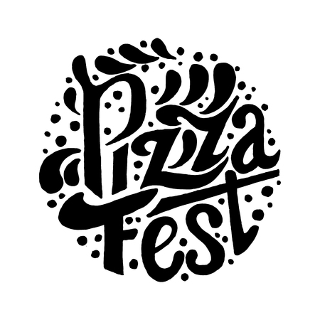 Pizza Fest lettering.Hand drawn lettering background. Ink illustration. Modern brush calligraphy Illustration