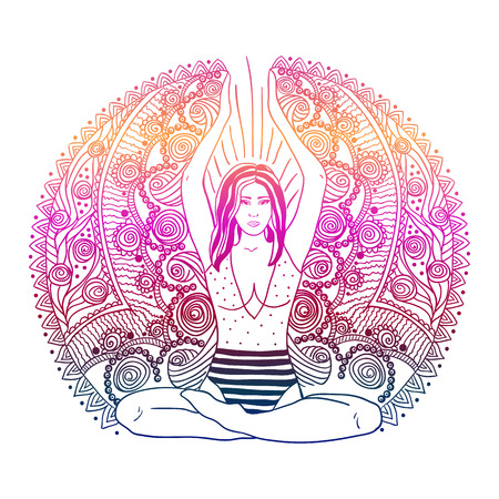 Beautiful Girl with long curly hair sitting in Lotus pose over gold ornate pattern on background. Vector illustration. Spa consent, yoga studio, or natural medicine clinic.