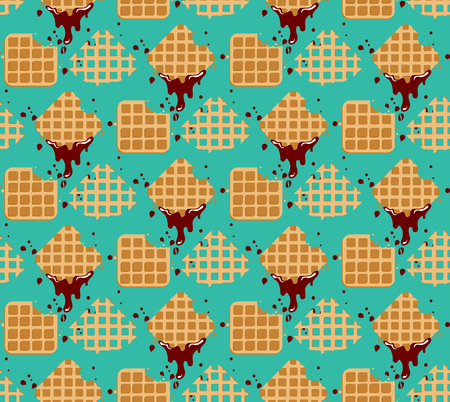 Waffles pattern - Sweet and delicious food Illustration