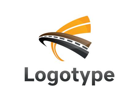 도 유지 관리 크리 에이 티브 서명 개념, 교통 디자인 및 트래픽 테마에 대 한 부정적인 공간에서 고속도로와 포장 디자인 템플릿.