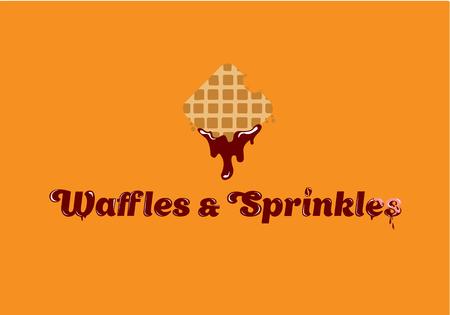 Waffles and Sprinkles logo. Tasty Belgian Waffle logo design. Vector illustration Illustration