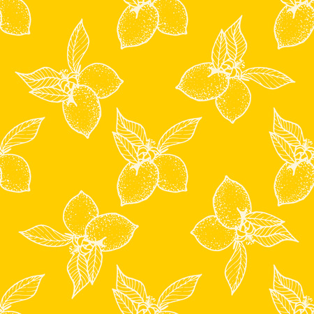 seamless pattern ,lemon background with yellow and white elements, geometric design Illustration