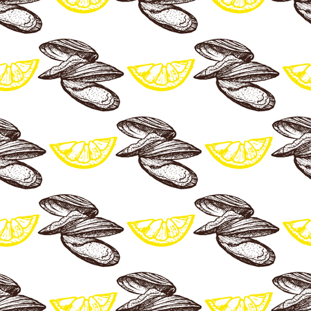 Graphic vector mussels drawn seamless pattern on blue background  イラスト・ベクター素材