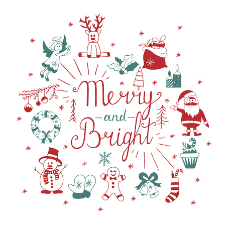 gingerbread man: Christmas icons set.Vector. Merry and Bright. Hand lettering calligraphic Christmas type poster