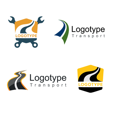 Road,transport . Abstract element set of logo templates on isolated background