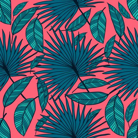 완벽 한 벡터 열 대 패턴입니다. 열 대 컬러 잎, 정글 나뭇잎.