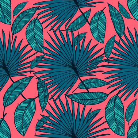 A seamless vector tropical pattern. Tropical color leaves, jungle leaves.