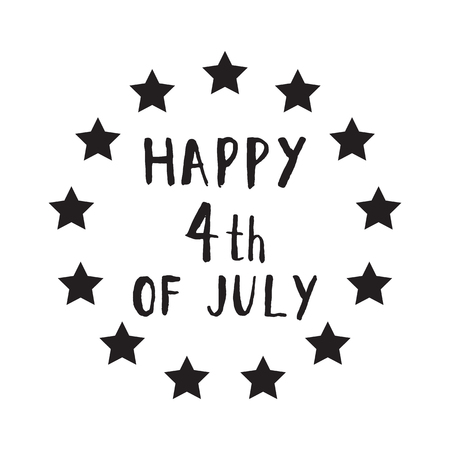 royalty free: Happy 4th of July hand drawn lettering design vector royalty free stock illustration. Illustration