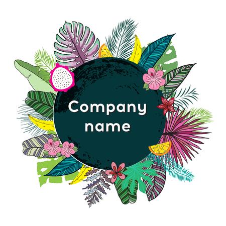 Trendy tropische bladeren Vector Design. Illustratie voor posters, logotype bedrijf, wenskaarten en uitnodigingskaarten, print en webprojecten.