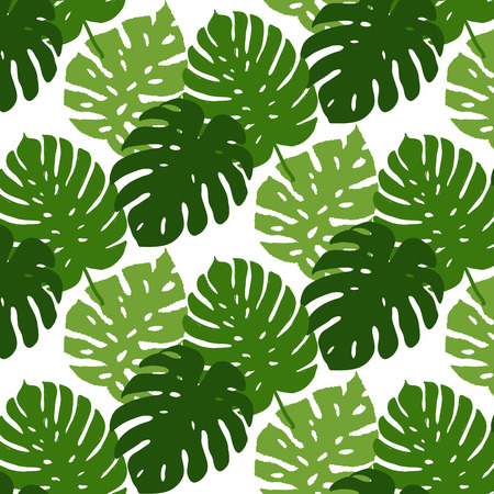 Vector tropical leaves seamless pattern. Hand painted illustration background Vettoriali