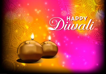 램프와 전통적인 인도 축제 디 왈리의 우아한 카드 디자인. 디 왈 리 축제의 축제에 대 한 아름 다운 인사말 카드입니다.