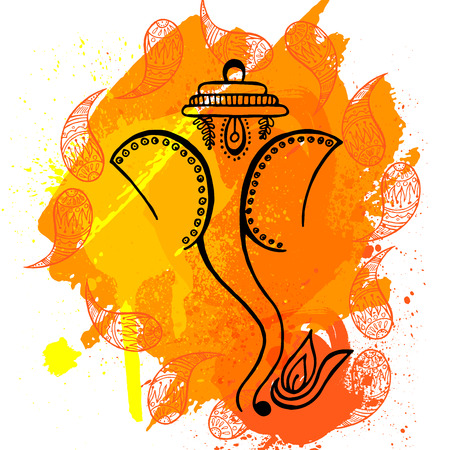 illustration of Hindu god lord Ganesha in paint style with yellow background