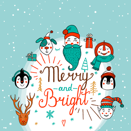 Vector set of cute characters. New year Christmas Winter Collection.