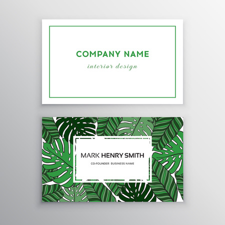 94377928 business cards gold and colorful design tropical leaf vector illustration corporate identity templates in tropical style