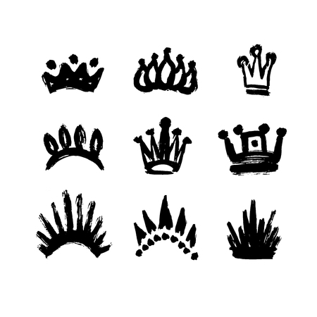 Set of crowns drawn by hand. Set texture strokes thick paint in the form of a crown isolated on white background. Grunge, sketch, graffiti. Isolated black icons, logos, symbols. Vector illustration.