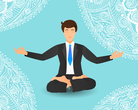 Vector illustration of businessman sitting in lotus pose. Meditating office worker on dreamy mandala background.