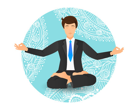 Businessman sitting in lotus pose vector illustration. Meditating office worker on dreamy mandala background.