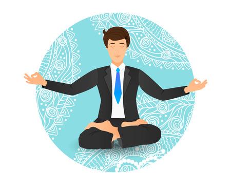 Businessman sitting in lotus pose vector illustration. Meditating office worker on dreamy mandala background.
