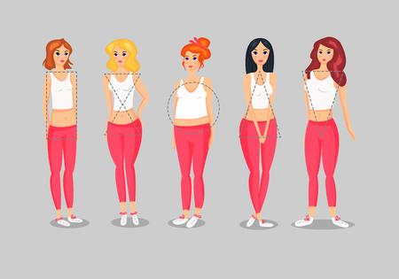 Set of Female Body Shape Types vector illustration