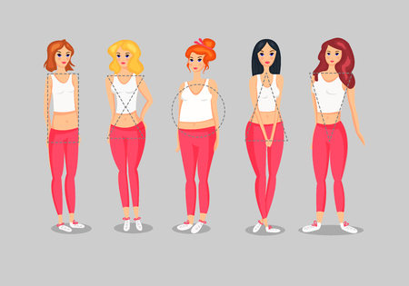 Set of Female Body Shape Types vector illustration
