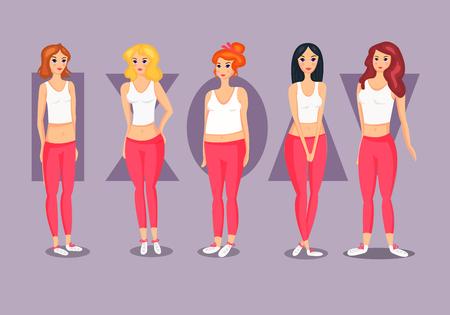 Set of Female Body Shape Types. Vettoriali