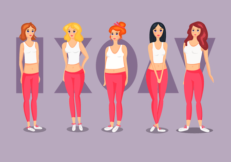 Set of Female Body Shape Types. 矢量图像