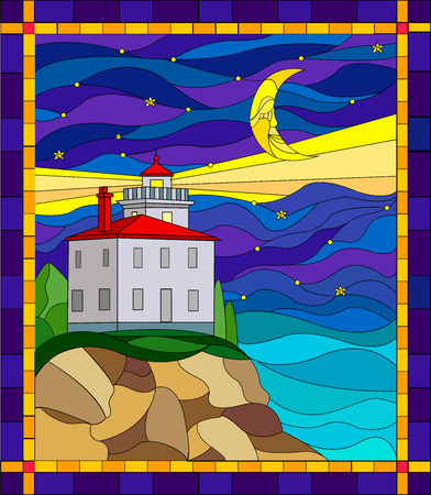 Illustration in stained glass style with the seascape, lighthouse  on the background of the night sky and the sea