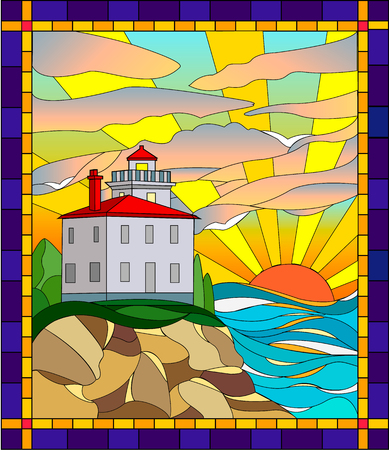 Illustration in stained glass style lighthouse. Sea, lighthouse and rising sun in stained glass style