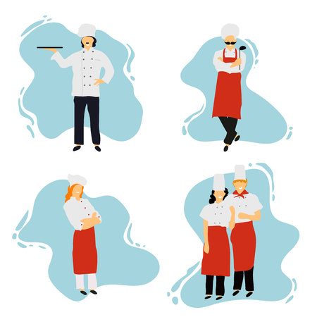 Chefs in restaurant kitchen cooking. Cute cooks in uniform preparing food in dining or hotel.Professional master.Young professional chefs. Flat design. Vector illustration.