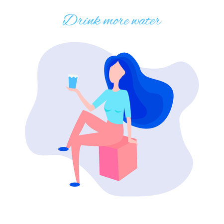 A girl drinks water through a straw. Beautiful dynamic girl with water. Healthy lifestyle concept. Vector cartoon illustration isolated on white background. Vettoriali