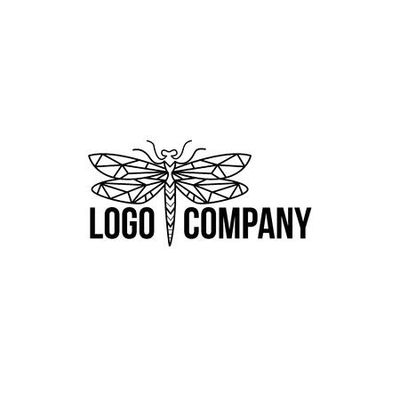 Minimalist elegant Dragonfly logo design with line art style 向量圖像