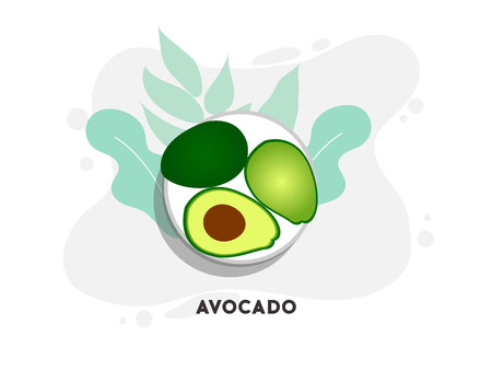 Whole and cut in half avocado with pit. Vector illustration.Vector icon of avocado. Avocado fruit in flat style.