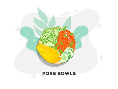 Hawaiian salmon poke bowl with seaweed, avocado rose, sesame seeds and mango. Illustration