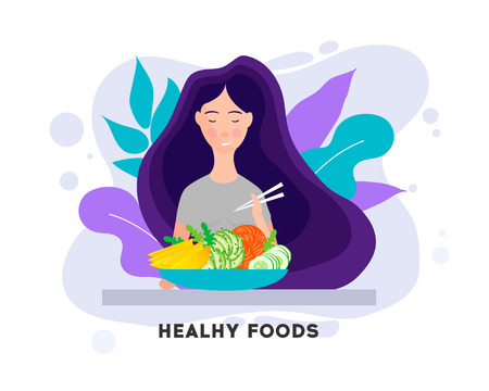 Pretty Girl with Healthy Food. Eating healthy food.Woman having lunch, dinner or breakfast.Vector illustration character design happy to eat. Girl enjoying delicious foods. Illustration