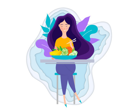 Pretty Girl with Healthy Food. Eating healthy food.Woman having lunch, dinner or breakfast.Vector illustration character design happy to eat. Girl enjoying delicious foods. Stock Illustratie
