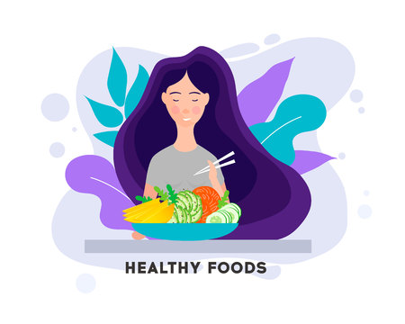 Pretty Girl with Healthy Food. Eating healthy food.Woman having lunch, dinner or breakfast.Vector illustration character design happy to eat. Girl enjoying delicious foods.