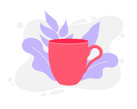 Pink cup of coffee. Idea concept. Vector Illustration. Flat Style. Decorative Design for Cafeteria, Posters, Banners, Cards