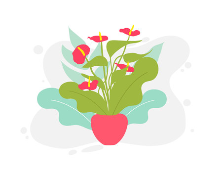 Spring and summer colorful flowers in pots. Vector illustration flower, plant growing in a pot. Potted plant icon. Little plant seedling. Seedling icon