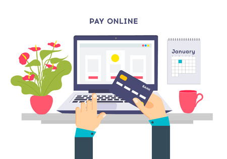 Flat design illustration processing of Pay online credit card. Online purchase on digital computer. Illustration
