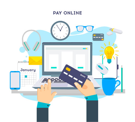 Bezahlen Sie Online-Konzept auf modernen Technologiegeräten mit responsivem flachem Webdesign
