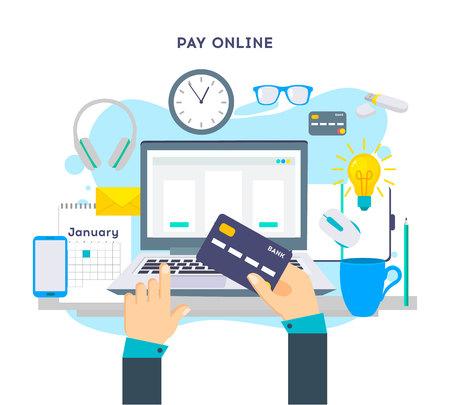 Concept de paiement en ligne sur des appareils technologiques modernes avec une conception Web plate réactive