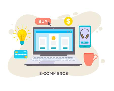 Online shop. Digital Marketing, store, E-commerce shopping concept. Internet sale shopping cart, payment, checkout, gift box.