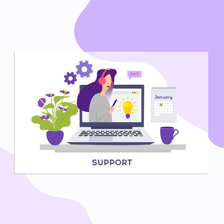 Online support concept.Online global technical support 24 7. Vector illustration Idea of advice, help, assistance. Ilustracja