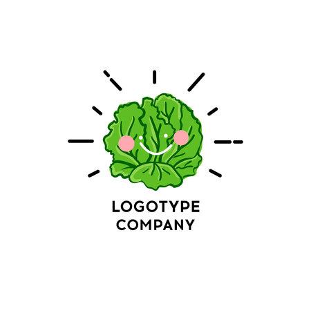 Lettuce vegetable. Vector illustration of a fresh lettuce. Happy Vegetable symbol. Eco Food icon.