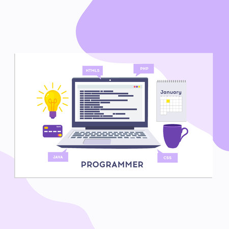 Workplace of programmer or coder. Software coding, programming languages, testing, debugging, web site, search engine seo Vector illustration in flat style